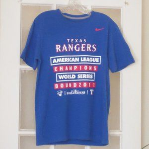 Texas Rangers Blue 2011 Graphic T Shirt Sz M